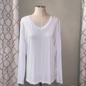 White Classic Long Sleeve V Neck T Shirt Top